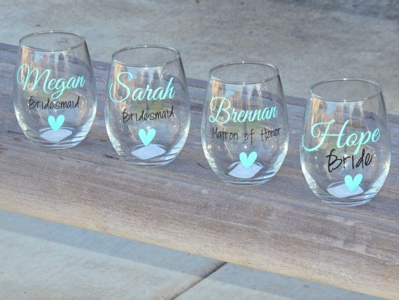 Set of 7 Bridesmaid wine glasses bridal party glass small