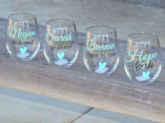 Set of 6 Bridesmaid wine glasses bridal by ShopAroundTheCorner3
