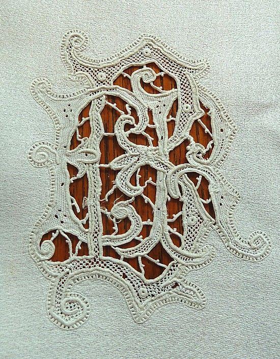 Ems Heart Antique Linens -Needlelace Monogrammed Antique Italian Linen Napkins