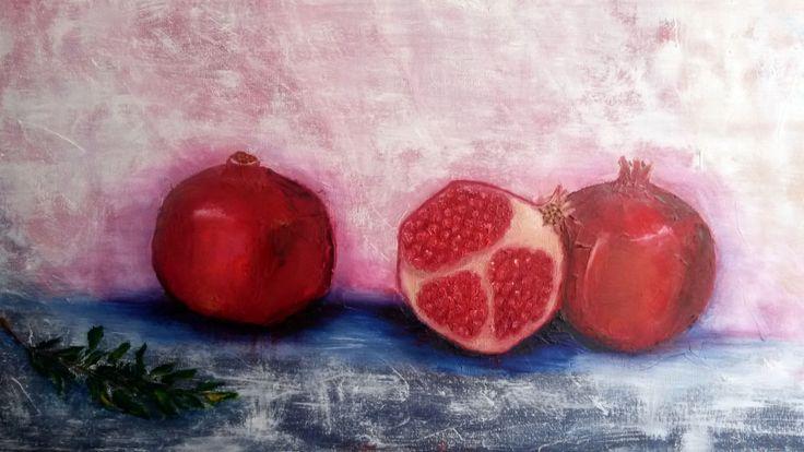 Granadas/ Pomegranates. Oil on canvas.