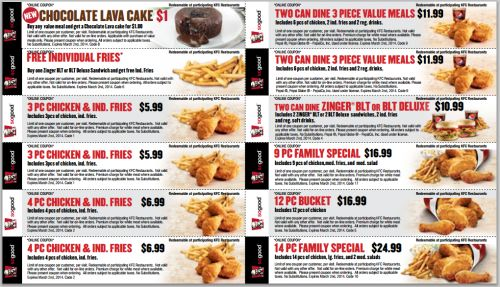 Here are some new Kentucky Fried Chicken Canada printable coupons from KFC.ca! These coupons are valid until March 2nd, 2014. They are only redeemable at participating KFC restaurants so be sure to mention them to your cashier prior to ordering.....
