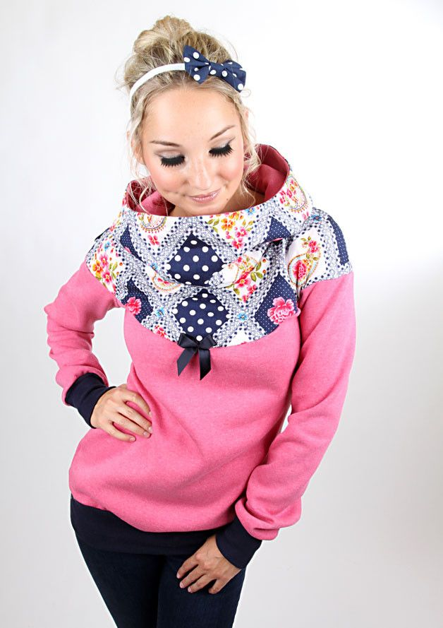 Kuschelpullover aus meliertem Sweat, pink / soft and comfy hoodie, pink, girly by meko via DaWanda.com