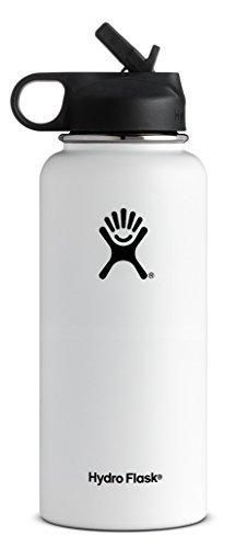 Hydro Flask Vacuum Insulated Stainless Steel Water Bottle Wide Mouth with Straw Lid (White 40-Ounce)