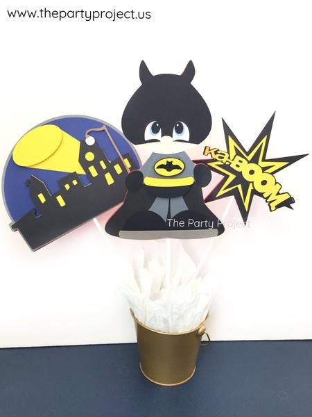 Batman party centerpiece! An adorable adition to your Batman birthday or baby shower candy bar!