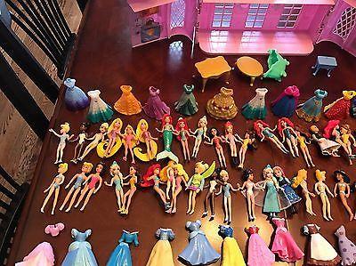 Disney Princess Polly pocket Magiclip Dolls, Castle, Clothes