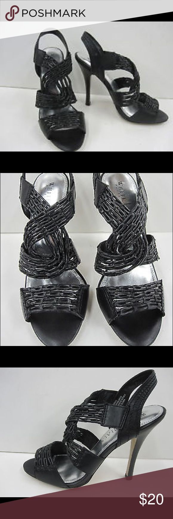 White House Black Market Amanda Strappy Blk Heels White House Black Market Amanda Strappy Heels, Sz 9. Features intricately woven black leather with 4.75in heels. Must have for you summer wardrobe. I many more WHBM items listed in addition to designer labels and name brands including Calvin Klein, Ralph Lauren, Gianfranco Ferre, Anthropologie, Free People and many more. Thanks for shopping in my closet! White House Black Market Shoes Heels