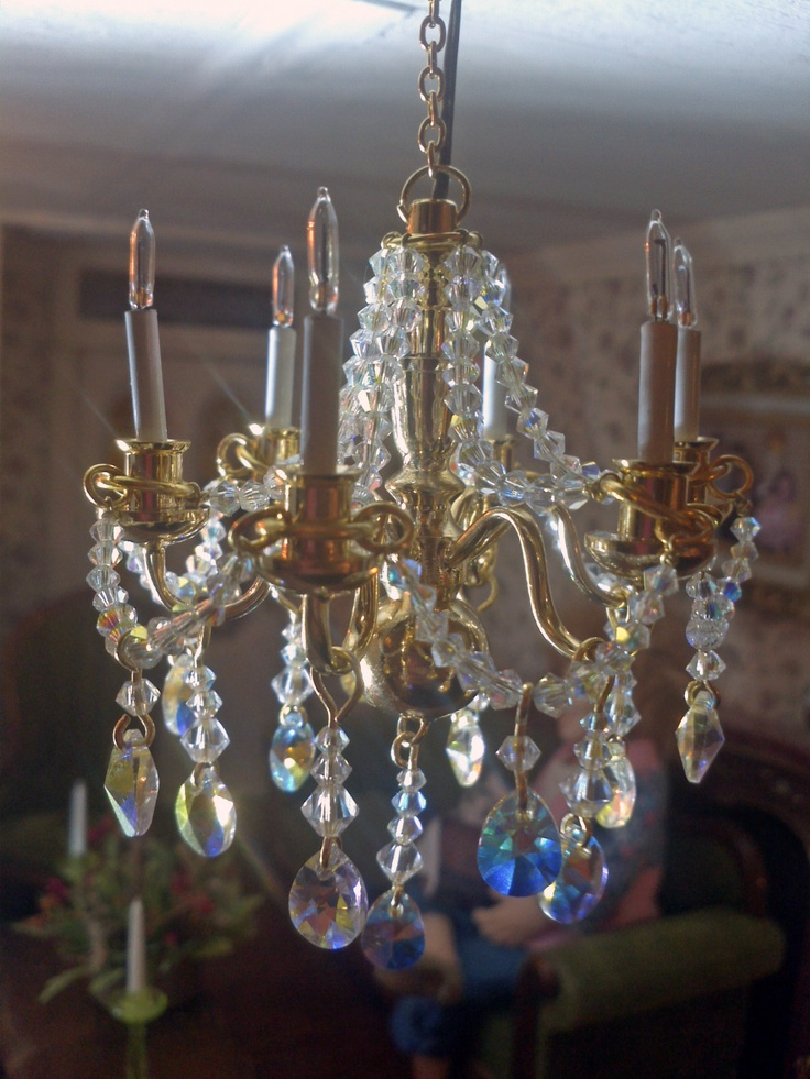 The 242 best mini lighting images on pinterest dollhouses doll miniature 12v 6 arm swarovski crystal chandelier with 185 hand strung crystals ebay aloadofball Image collections