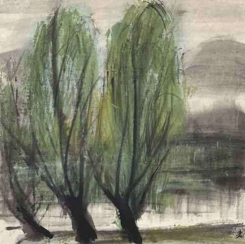 Lin Fengmian (Chinese, 1900-1991), Willows by the Lake. Ink and colour on paper, 66.5 x 66.5 cm.