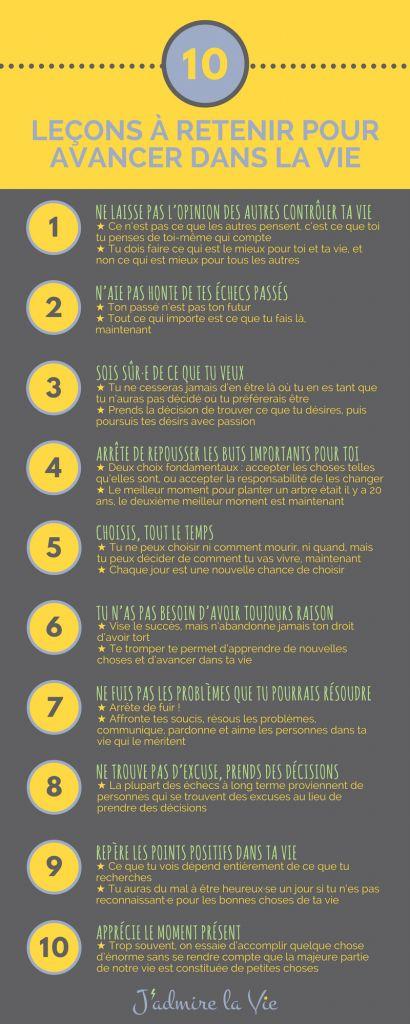 Infographie : 10 leçons à retenir pour avancer dans la vie
