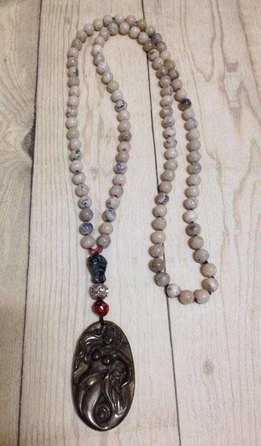 African opal pyrite mermaid pendant