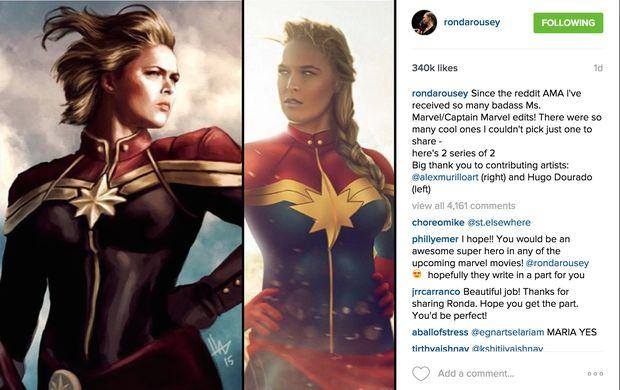 Montagem de fãs mostra Ronda Rousey caracterizada como a Capitã Marvel