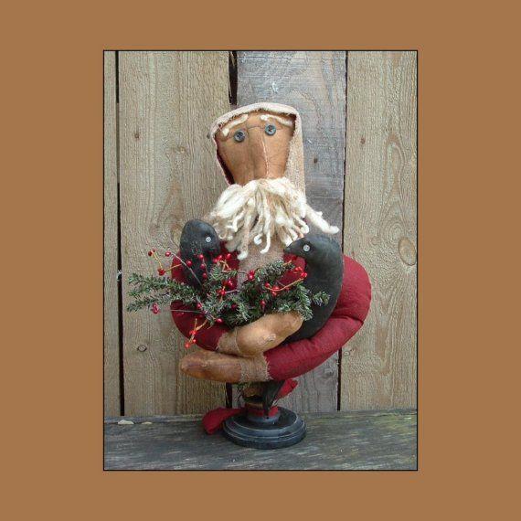 Santa Delivering Crows primitive folk art make do by lazydayzlucy #instant download pattern #Christmas decor $7.50