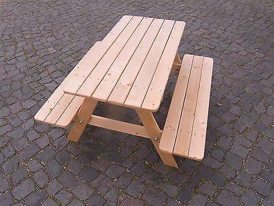 Kinder Picknicktisch Holz Kindertisch Kindersitzgruppe 4 Sitzer Gartenbank Tisch