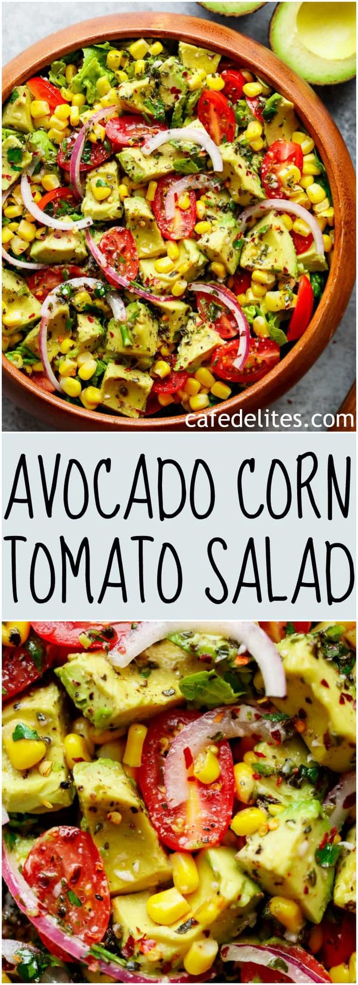Avocado Corn Tomato Salad with a lime juice dressing is delicious served on its own, or as a side that easily pairs with anything on your plate!   https://cafedelites.com