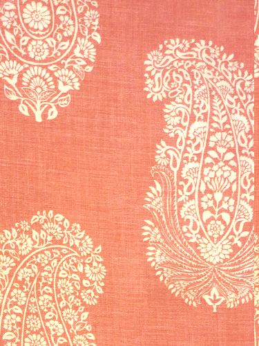 interpretation of an old wood block - orange, coral, pink fabric