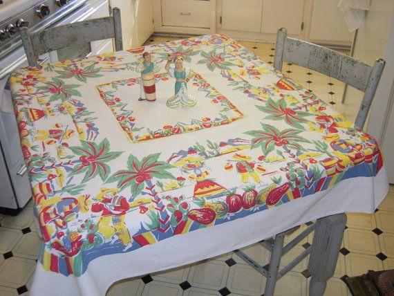 Vintage Mexican Tablecloth Colorful Village by unclebunkstrunk