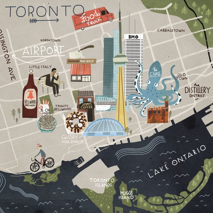 Steve McCarthy illustration - Map of Toronto for Cara Magazine
