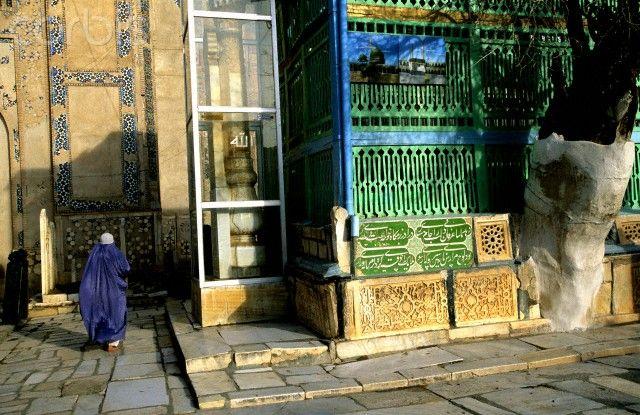 An Afghan woman at the tomb of Khajeh Abdullah Ansari in Herat, Afghanistan.