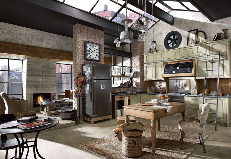 Cucina angolare Nolita, Stile vintage industrial costruita con elementi come metallo, legno e raffinati inserti in lavagna.