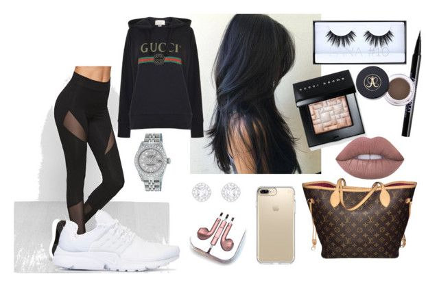 """sporty"" by janiceacc on Polyvore featuring moda, NIKE, GURU, Gucci, Rolex, Huda Beauty, Urban Decay, Bobbi Brown Cosmetics, Louis Vuitton y Speck"