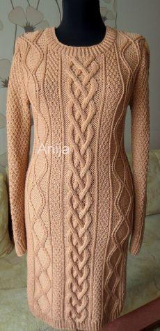 Платье с аранами вязаное спицами. Вязаные платья спицами с косами | Домоводство для всей семьи