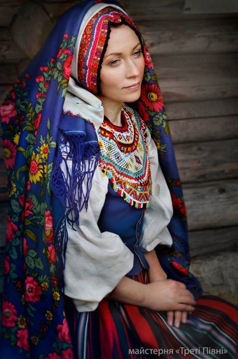 "Traditional Ukrainian dress. Part of photo shoot project ""Letters to the Battle-Front"", featuring wives, mothers and sisters of the soldiers in the combat zone wearing traditional dress."