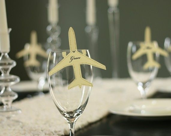 Aviation place cards! No longer available, but I may have to use this idea sometime.