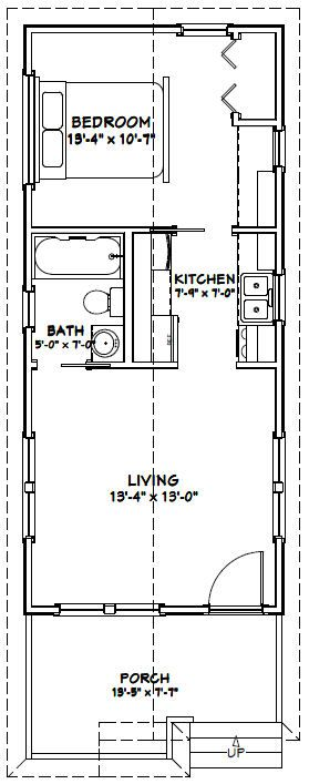 14x32 Tiny House -- #14X32H1 -- 447 sq ft - Excellent Floor Plans