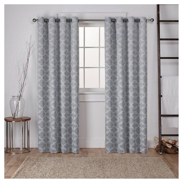 """Cartago Insulated Woven Blackout Grommet Top Window Curtain Panel Pair Gray (54""""x96"""") - Exclusive Home"""