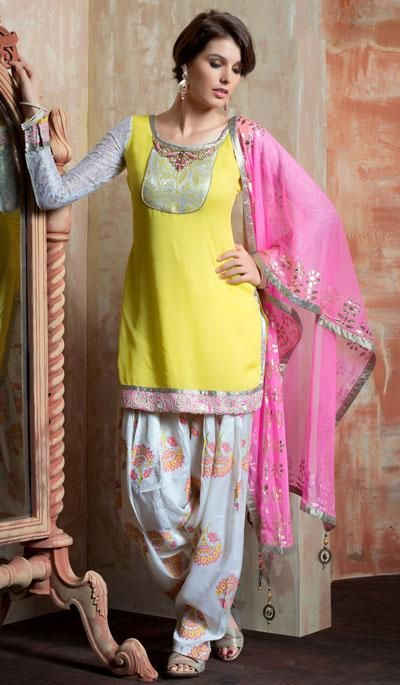 yellow suit with printed salwar
