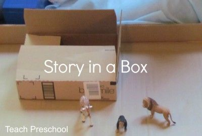 Story in a Box from Teach Preschool Goes with the book Sitting in my Box. Another idea is to bring a range of items in a box and make up a story for the children. Better still, have the children collect the items from around the room.