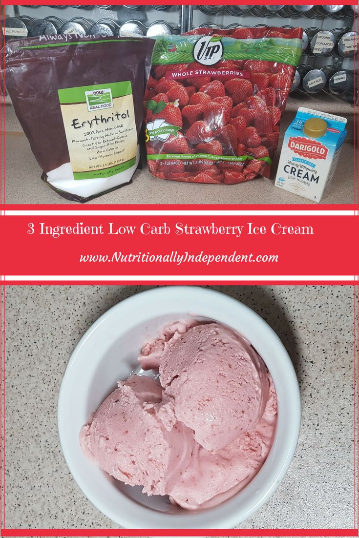A Healthy, Homemade Low Carb Strawberry Ice Cream Recipe you can make in just minutes. This is teenager and husband approved! via @NutritionIND