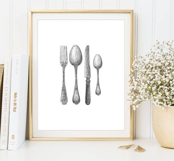 Vintage Cutlery print Silverware Fork Spoon Knife