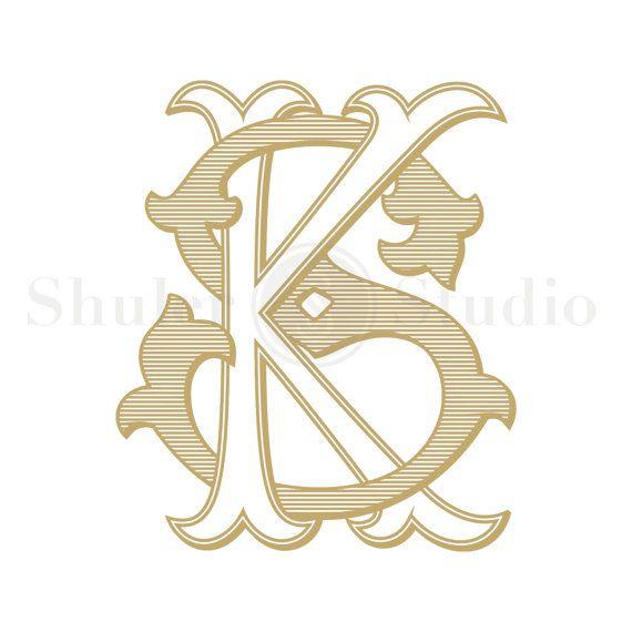 KS Monogram, SK Monogram, Custom Wedding Monogram, Custom Wedding Logo, Vintage Monogram