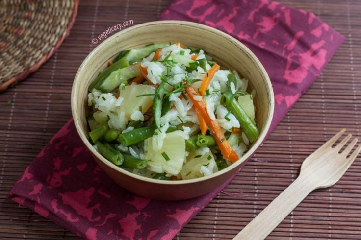Rice fried with Pineapple and Vegetables | vegelicacy.com