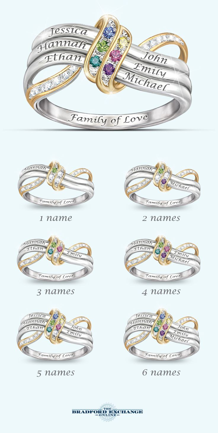 A family's love is forever! Honor them all with this name-engraved family birthstone ring - a unique personalized gift . Only from The Bradford Exchange.