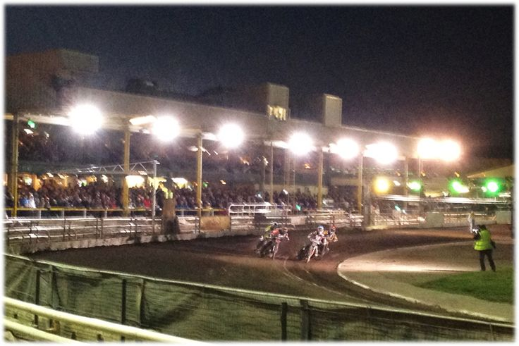 First bend action at Sheffield Speedway