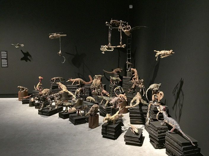 Fiona Hall, 'Wrong Way Time', installation view, image courtesy the artist and Roslyn Oxley Gallery.