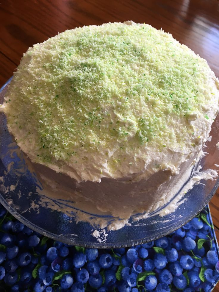 Chocolate cake with frosting and coloured coconut