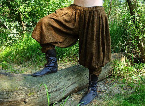 Pantalones holgados de Viking Medieval tempranos / pantalones, patrón histórico de recreadores de Viking, Viking traje