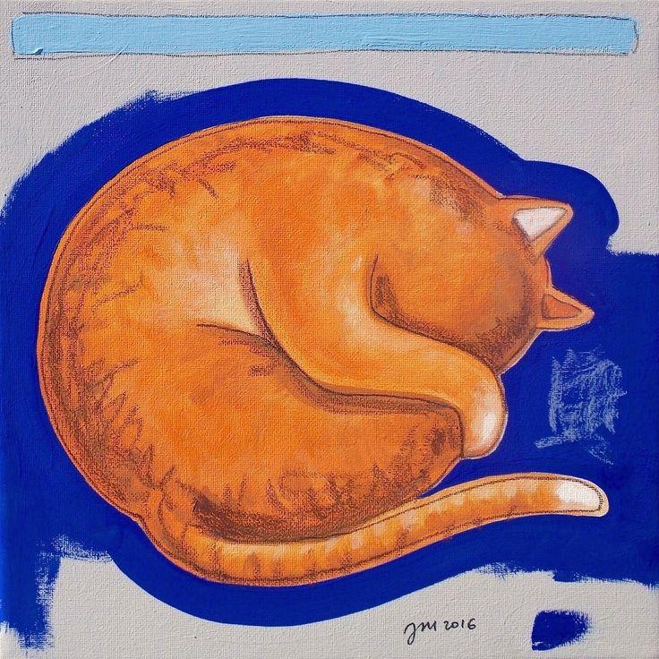 """andrea mattiello """"Relax"""" acrilico, grafite e pastello su tela cm 20x20; 2016   #andreamattiello #mattielloandrea #artist #emergingartist #artistaemergente #contemporaryart #collage #cat"""