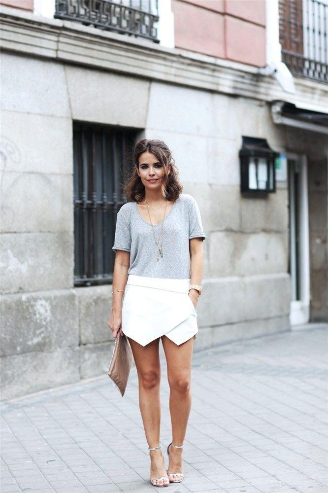 zara falda pantalon blanca
