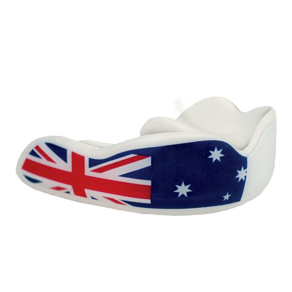Aussie down under, Australian flag design Mouthguard from Fight Dentist. Suitable for 12years + for just $25.00