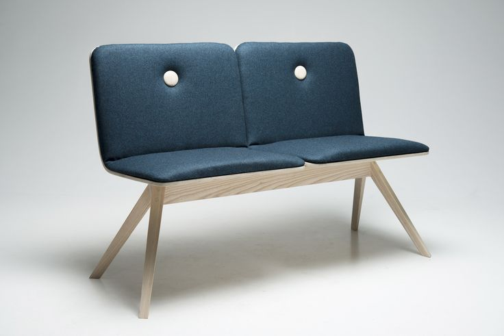 Dining bench in ash. Upholstery in 100% wool from Kvadrat.dk