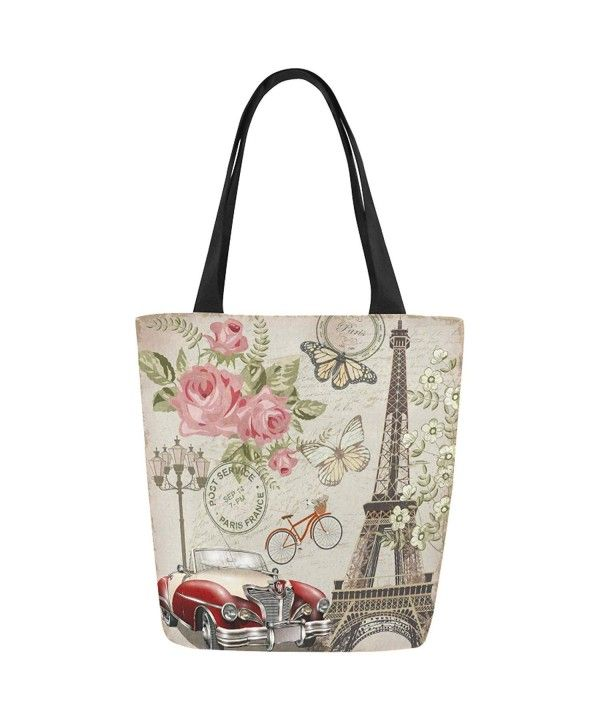 395e10038cf3 Vintage Paris Canvas Tote Bag Shoulder Handbag for Women Girls ...