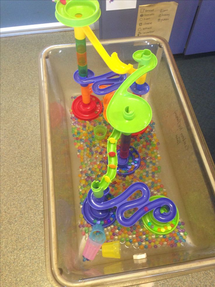water beads and marble run in the water tray