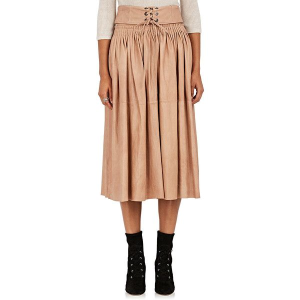 Ulla Johnson Women's Hilda Pleated Leather Midi-Skirt (50,135 PHP) ❤ liked on Polyvore featuring skirts, foldover skirts, pleated leather skirt, fold-over maxi skirt, red knee length skirt and calf length skirts