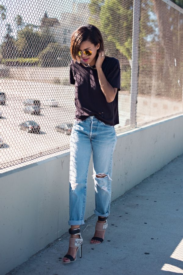 rip it up   vintage ripped Levi's, ripped tee, snake print heels, mirrored sunnies #ootd #stylemegrasie