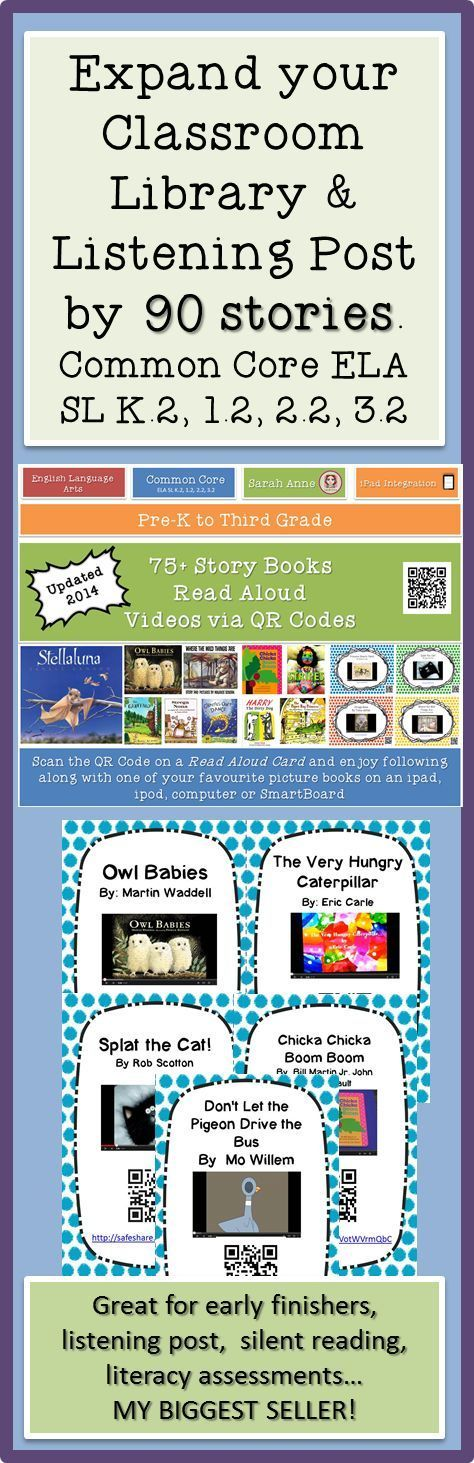 90 Read Aloud Picture book video cards for your listening post or reading corner. Boost your classroom library with 90 popular books to read on the ipad, ipod or active board. Scan (or click) the cards and enjoy a popular children's books on YouTube. In S