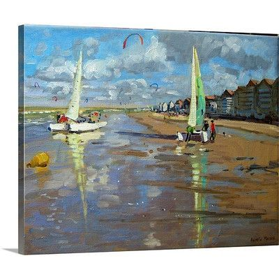 """Canvas On Demand 'Reflection, Bray Dunes, France' by Andrew Macara Painting Print on Canvas Size: 24"""" H x 30"""" W x 1.25"""" D"""